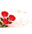 red roses and gold hearts vector image vector image
