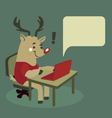 Rudolph the Reindeer Using a Notebook vector image vector image