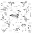 seagulls set seamless pattern vector image vector image