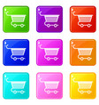 shopping trolley icons 9 set vector image vector image