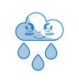 silhouette kawaii nice happy cloud raining vector image vector image