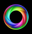 spiral ring sparkling in bright colors on black vector image vector image