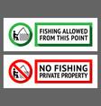 sticker set no fishing or fishing vector image vector image