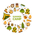 summer camp banner template with hiking equipment vector image vector image