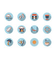 summer rest round flat color icons set vector image vector image