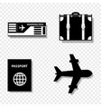 summer travel icon set isolated on transparent vector image vector image