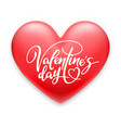 valentines day holiday red heart and lettering vector image