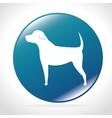white silhouette big dog blue button icon design vector image