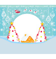 Winter landscape with reindeer house and Santa vector image vector image