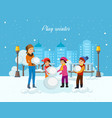 young children in winter clothes sculpt snowman vector image vector image