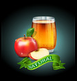 cup glass of apple juice with apple slices vector image