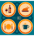 Restaurant poster design with food and drink icons vector image