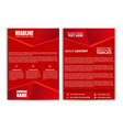 abstract red color flyer template size a4 vector image