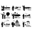 air transportation vehicles and people set vector image