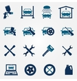 Auto service and repair flat icon set vector image vector image