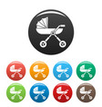 baby pram carriage icons set color vector image vector image