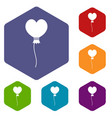 balloon in the shape of heart icons set hexagon vector image vector image