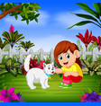 beautiful girl plays with her cat vector image vector image