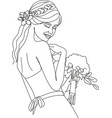 beauty woman face with flowers one line drawing vector image