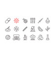 biological research icons set vector image