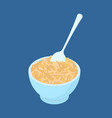bowl of oat porridge and spoon isolated healthy vector image vector image