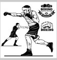 boxing set - boxers emblems labels badges vector image vector image