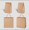 brown shopping paper bag set isolated transparent vector image