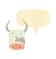 cartoon cow with speech bubble vector image