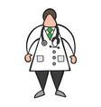 cartoon doctor man standing with stethoscope vector image vector image