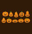 cartoon monster orange pumpkins jack lantern vector image