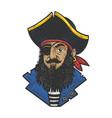 cartoon pirate sketch vector image vector image