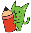 Cat and pencil vector image vector image
