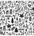 christmas seamless pattern with doodles hand vector image vector image