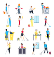 Cleaning People Icons Set vector image