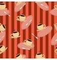 coffee cups on a red striped background vector image vector image