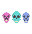 collection cute cartoon skulls vector image