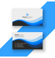 creative blue wavy business card design vector image vector image