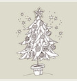 cute doodle hand drawn xmas tree for coloring vector image
