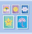 cute stamps cartoon star umbrella rain rainbow vector image vector image