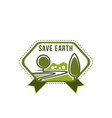 earth day save planet green tree icon vector image vector image