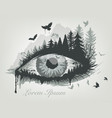 eye and forest with flying birds trees vector image vector image