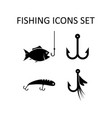 fishing icons set silhouette signs vector image