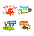 fishing sport and hobby cartoon icon set vector image
