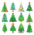 flat green christmas trees december holidays vector image vector image