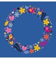 flowers hearts birds love nature circle frame vector image vector image