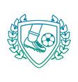 foot kicking ball football soccer emblem image vector image vector image