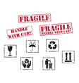 fragile rubber stamps vector image