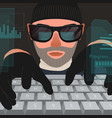 hacker attack computer system vector image