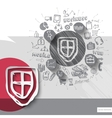 Hand drawn shield icons with icons background vector image