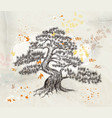 hand drawn tree on an old paper vector image vector image